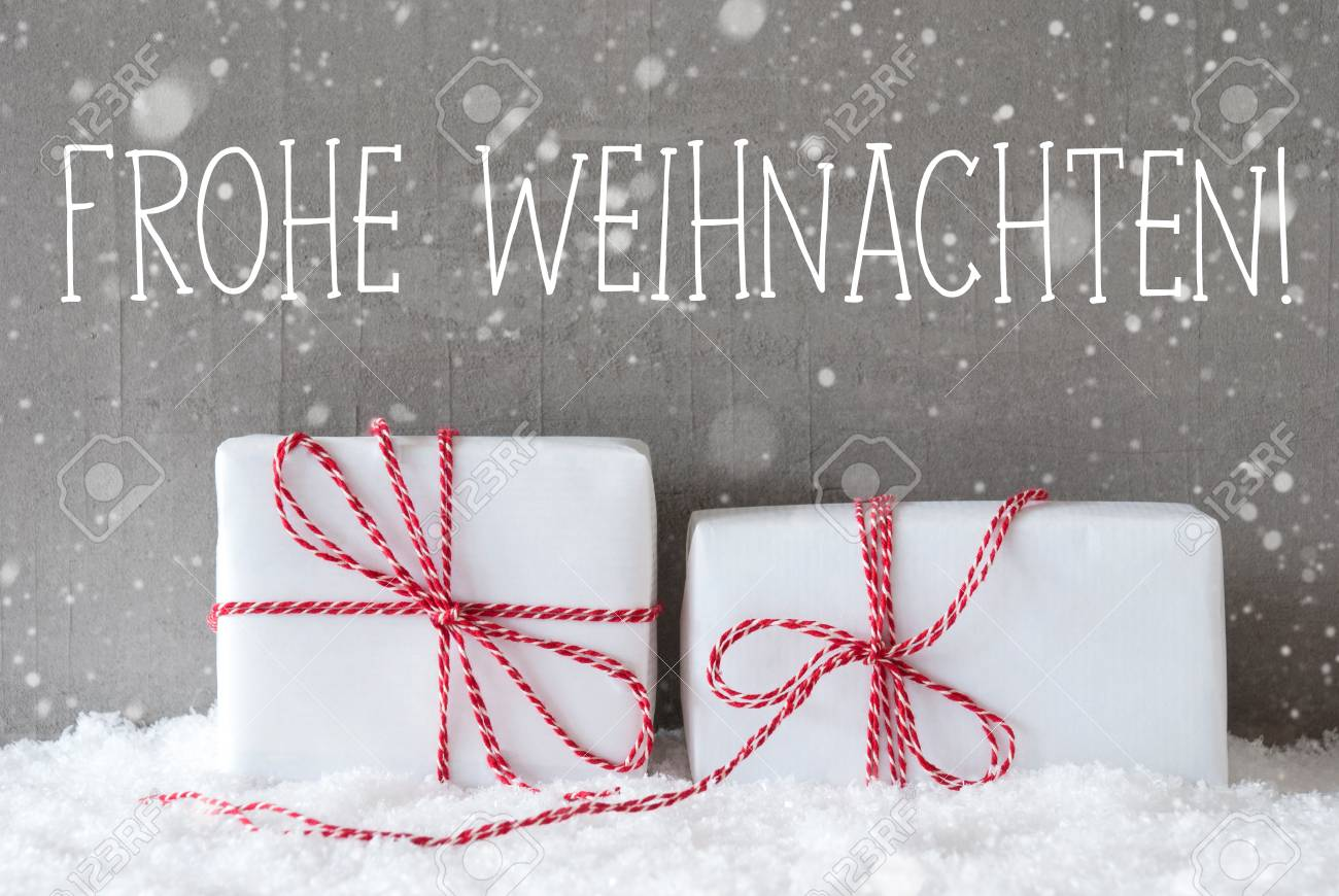 White Christmas In Germany.German Text Frohe Weihnachten Means Merry Christmas Two White