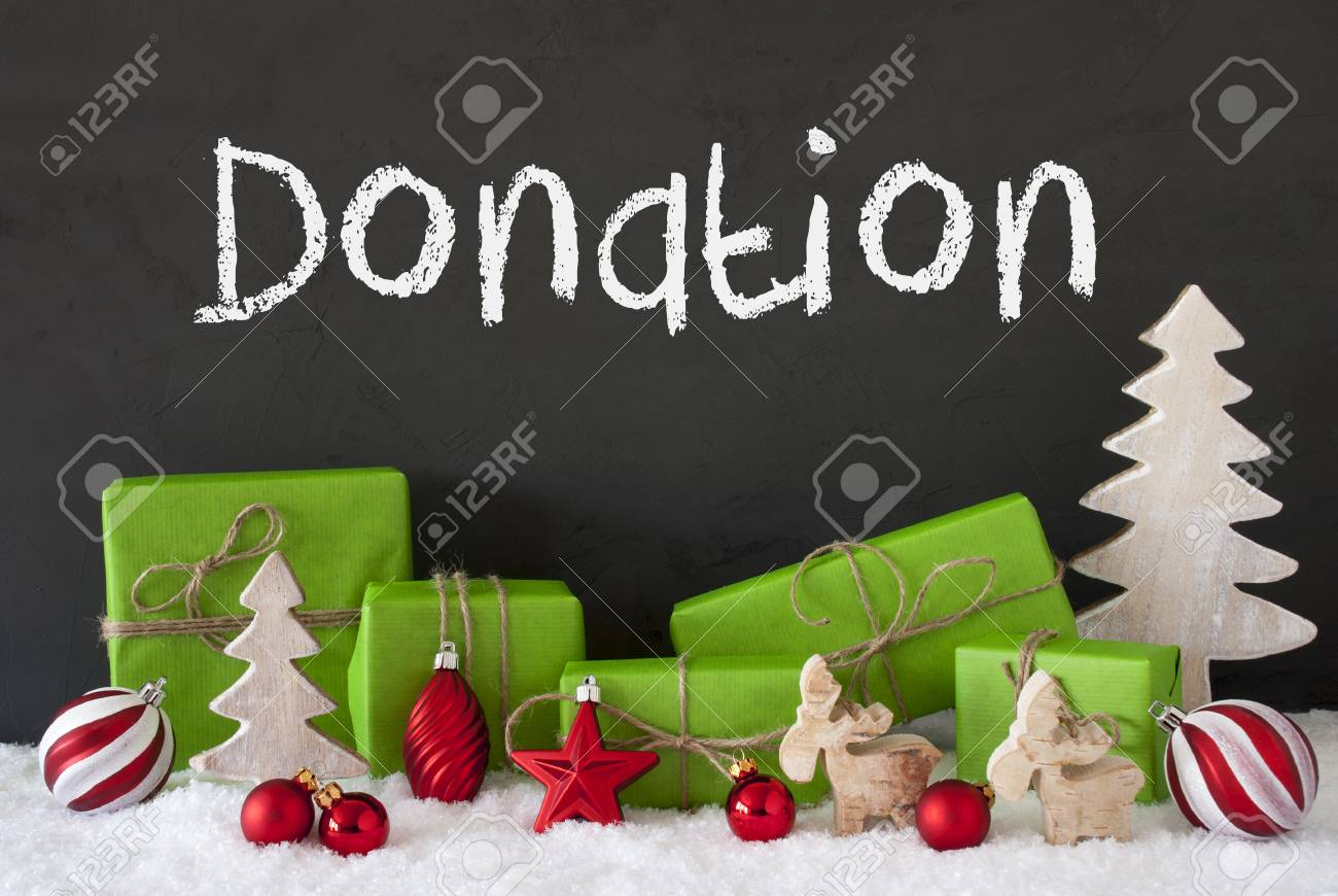 English Text Donation. Green Gifts Or Presents With Christmas ...