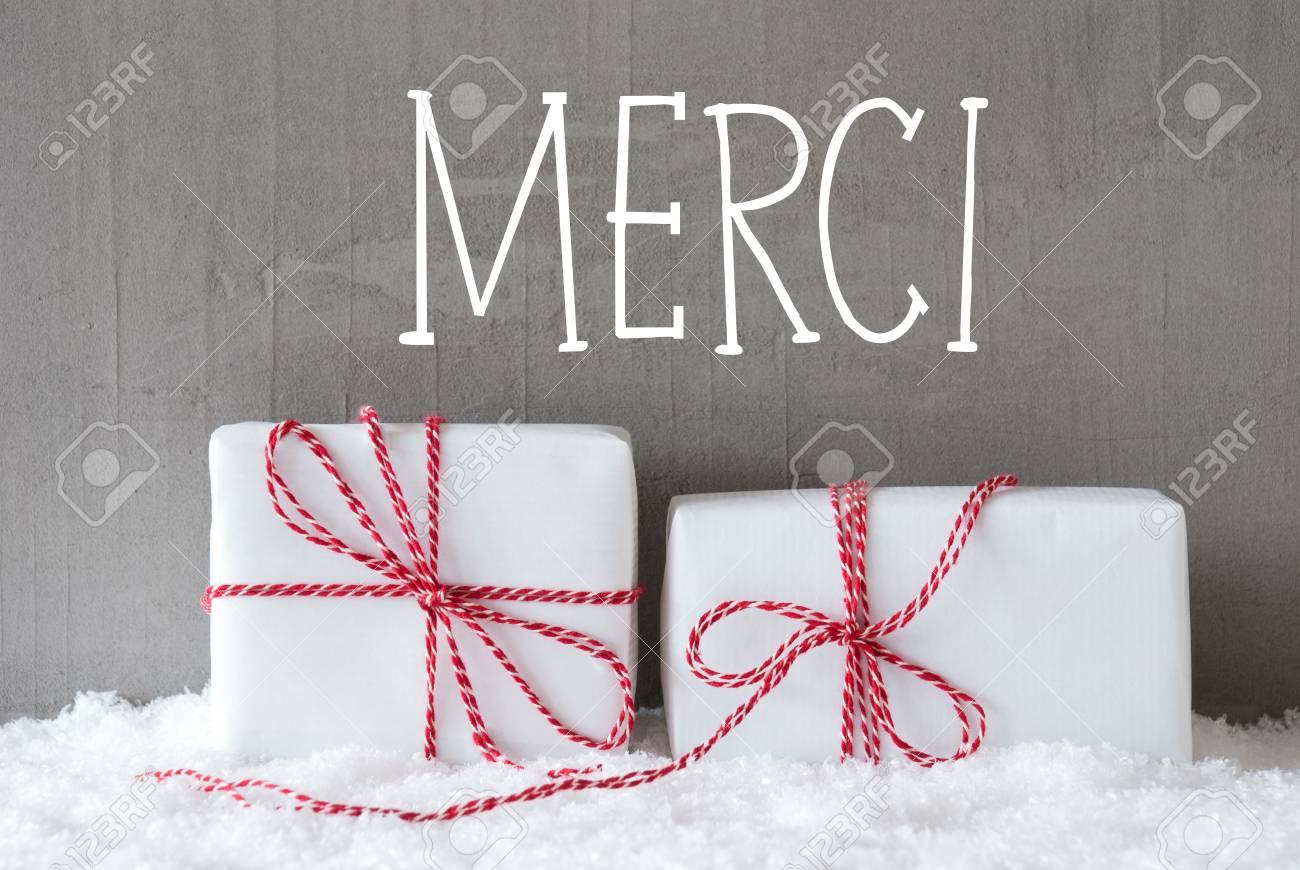 Französisch Text Merci Mittel Danke. Zwei Weiße Weihnachtsgeschenke ...