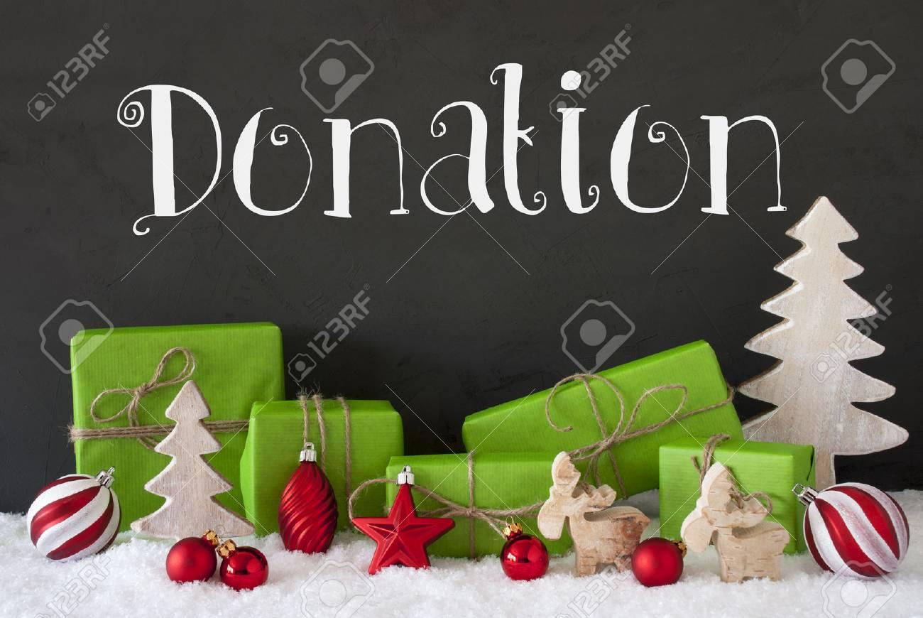 Don De Texte En Anglais. Cadeaux Verts Avec La Décoration De Noël