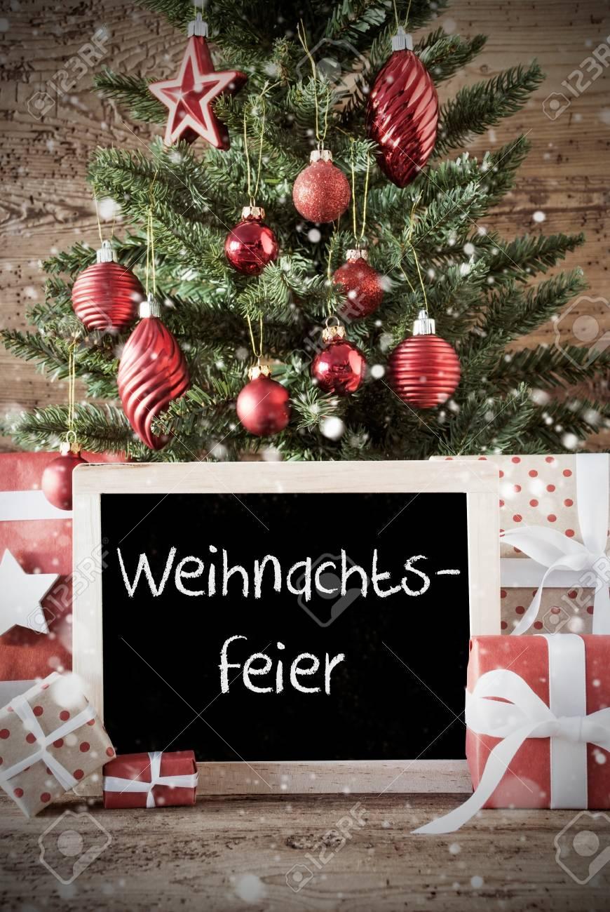 Tafel Mit Deutschem Text Weihnachtsfeier Bedeutet Weihnachtsfest ...