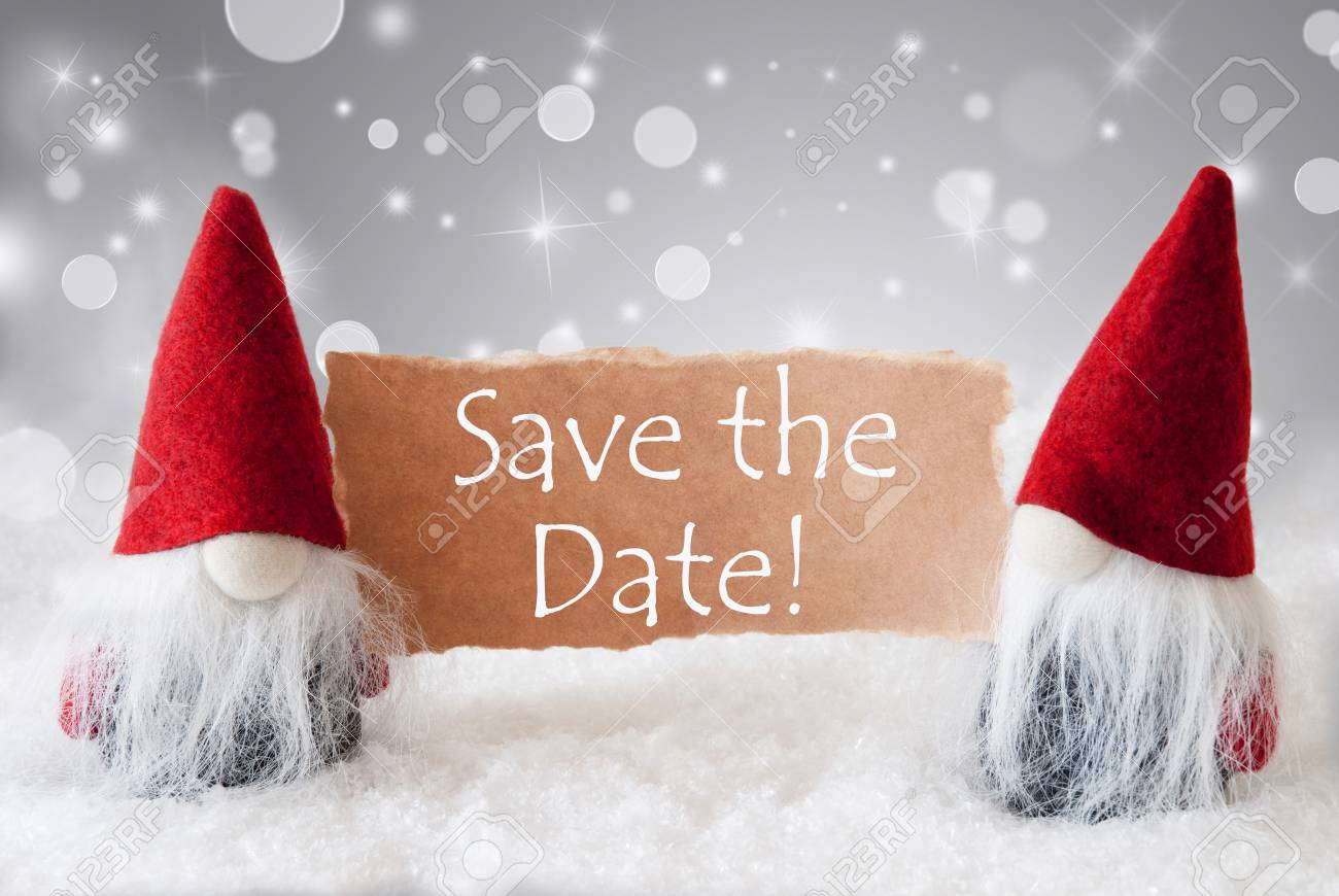 English Text Save The Date. Christmas Greeting Card With Two.. Stock ...