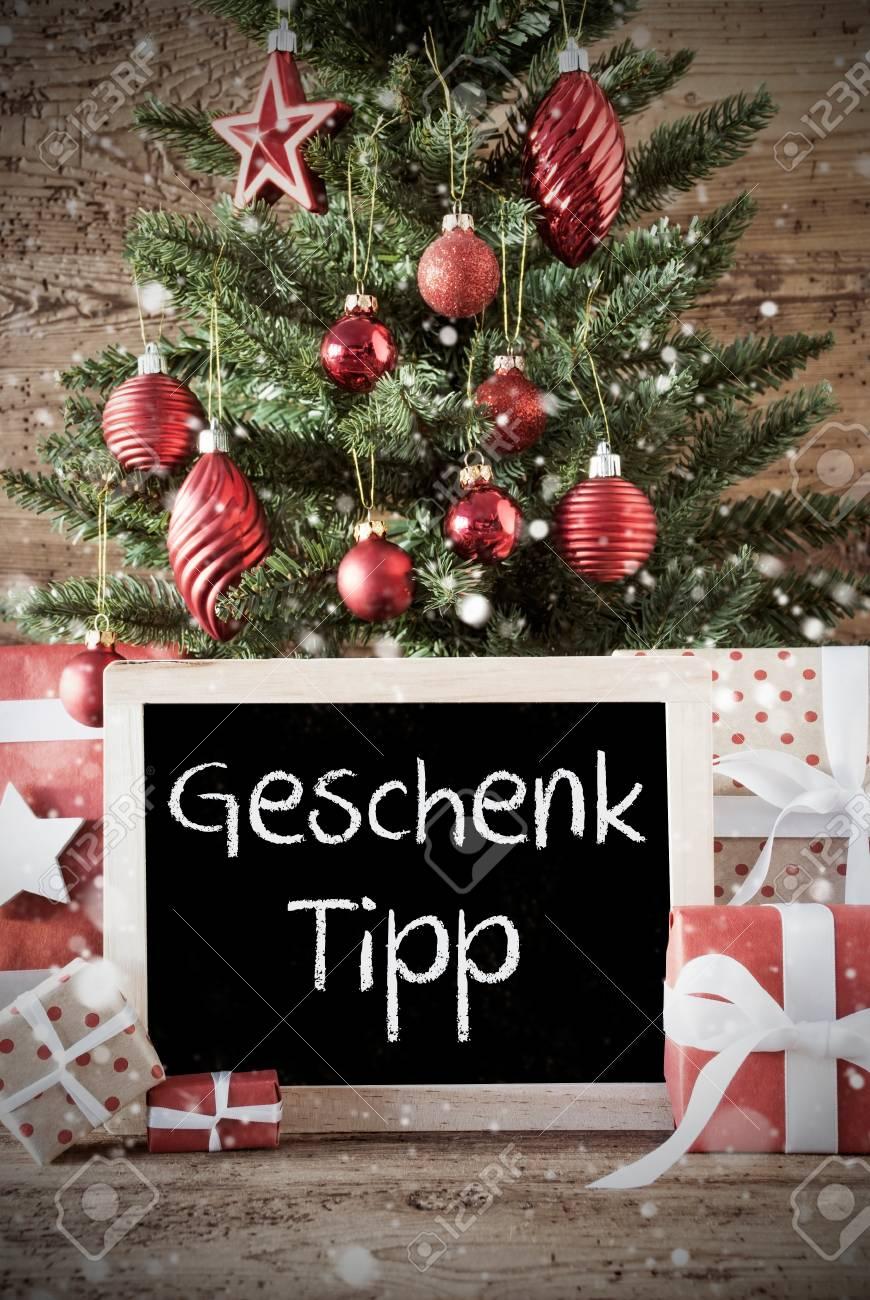 Chalkboard With German Text Geschenk Tipp Means Gift Tip. Nostalgic ...