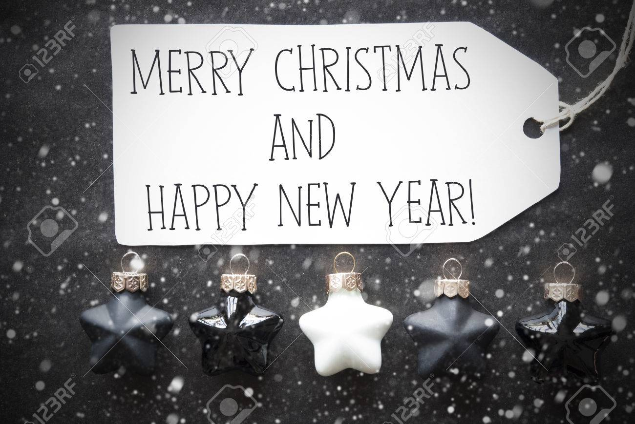 label with english text merry christmas and happy new year black and white christmas tree