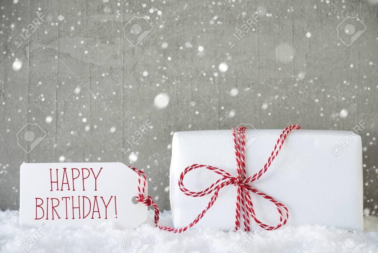 Ein Weihnachtsgeschenk Oder Geschenk Auf Schnee Zementwand Als
