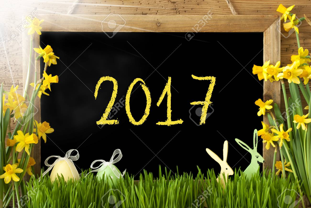 Blackboard With Text 2017 For Happy New Year Or Spring Greetings