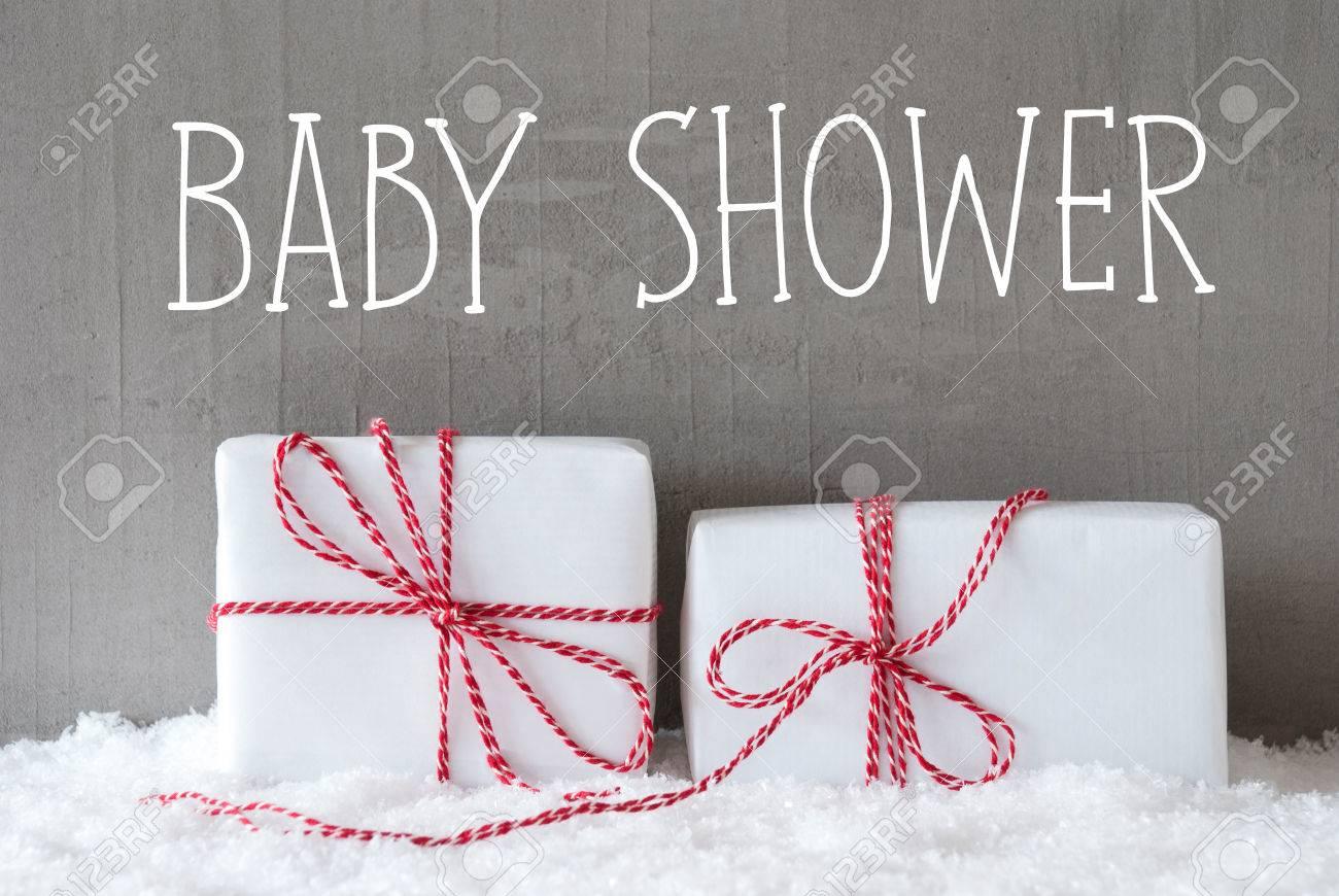 Englisch Text Baby Dusche. Zwei Weiße Weihnachtsgeschenke Oder ...