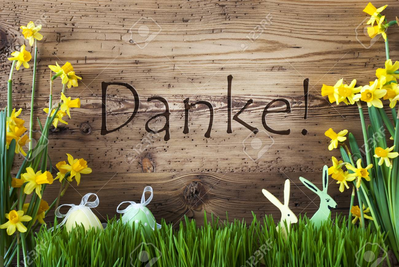 Wooden Background With German Text Danke Means Thank You Easter