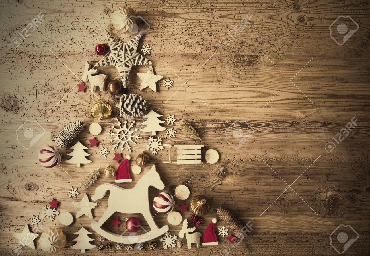 Christmas Flat Lay With Decoration, Rocking Horse, Retro Background - 86175297