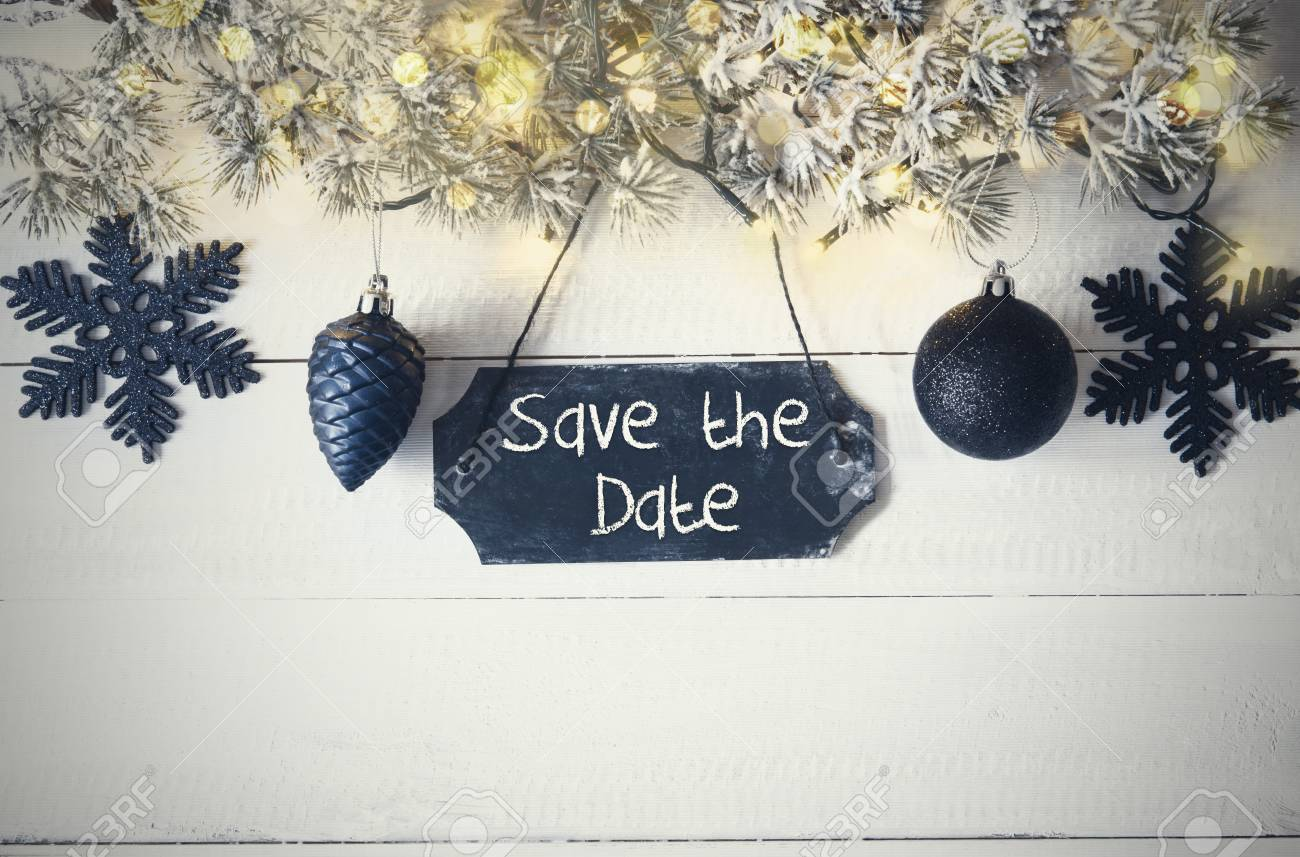 Christmas Save The Date.Black Christmas Plate Fairy Light Text Save The Date