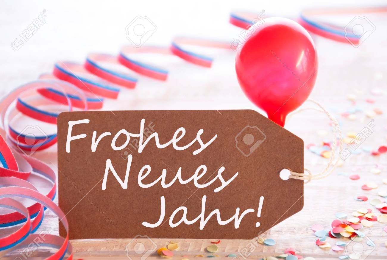 party label balloon frohes neue jahr means happy new year stock photo 88600425