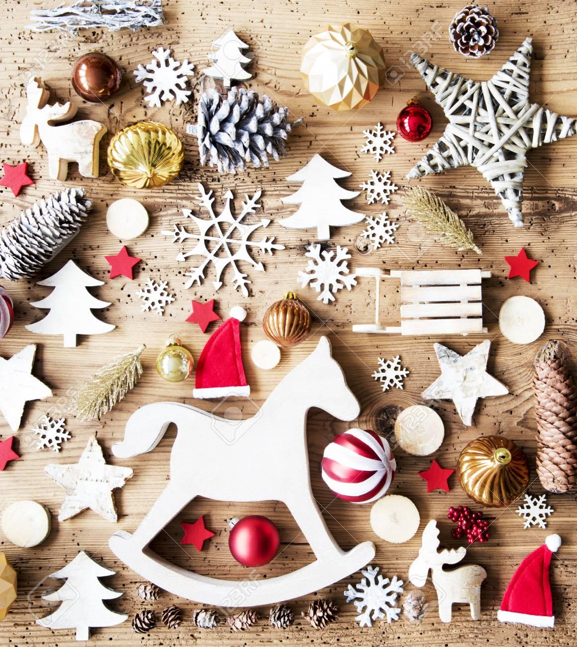 Immagini Di Natale Con Cavalli.Disposizione Piana Di Natale Con La Decorazione Priorita Bassa Rustica Cavallo A Dondolo
