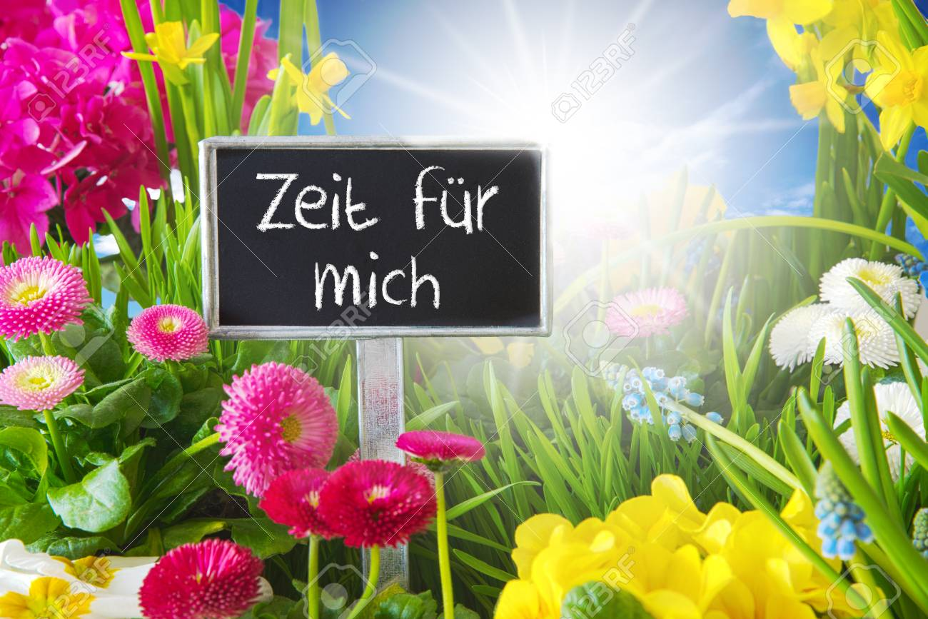 Sunny Spring Flower Meadow Zeit Fuer Mich Means Time For Me Stock