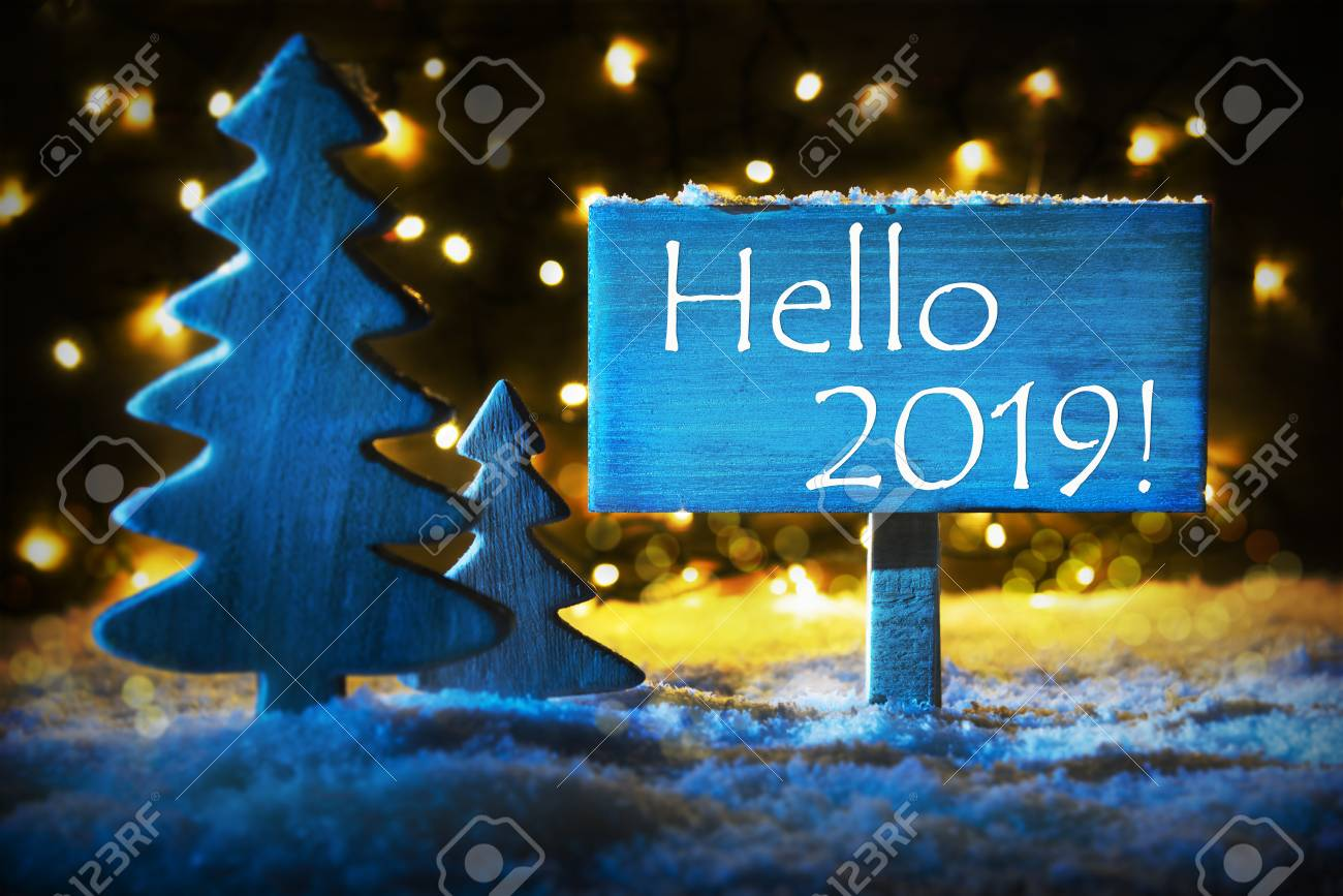 Snow On Christmas 2019 Blue Christmas Tree, English Text Hello 2019, Snow Stock Photo