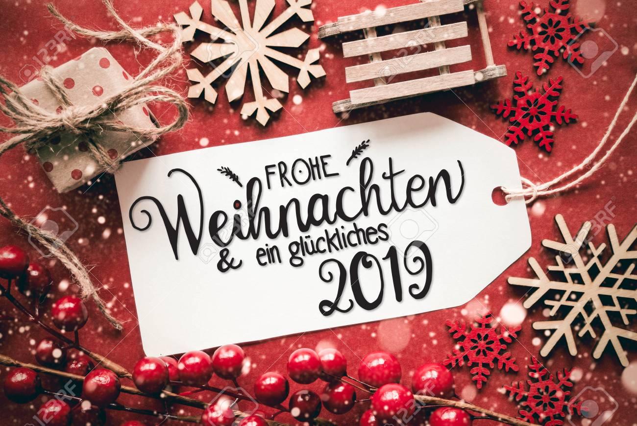 Frohe Weihnachten Und Ein.Label With German Calligraphy Frohe Weihnachten Und Ein Glueckliches
