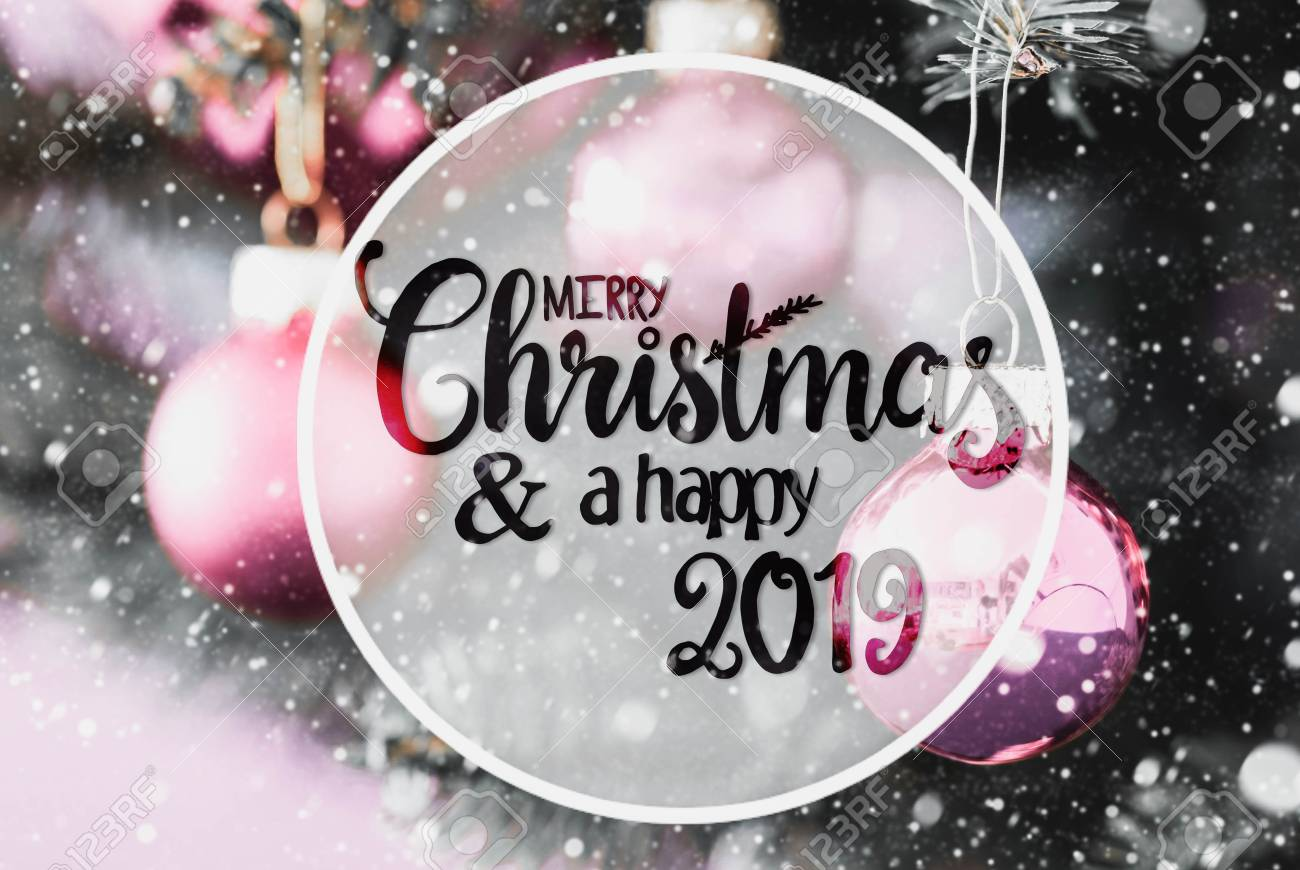 2019 Christmas.Circle With English Calligraphy Merry Christmas And A Happy 2019