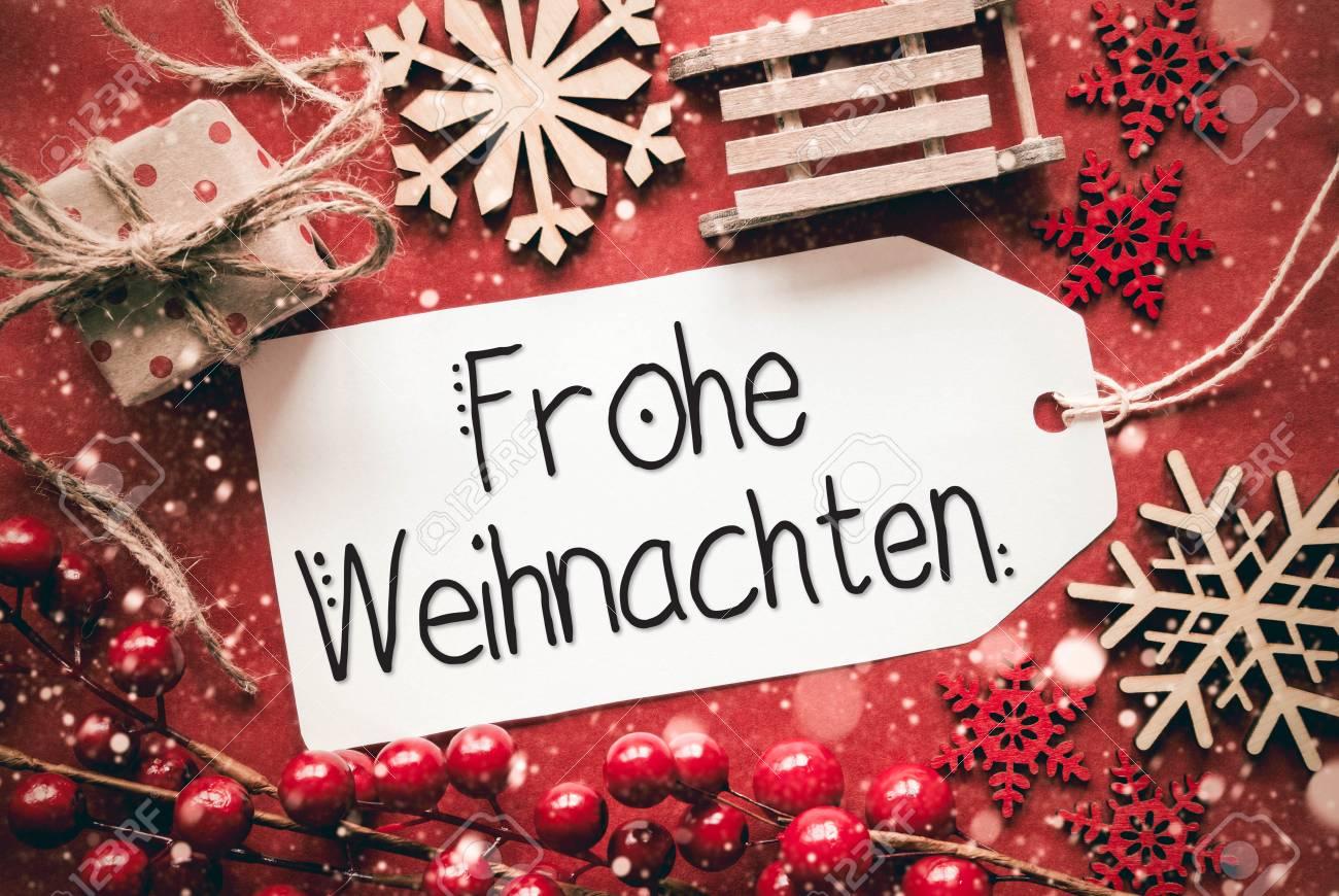Bilder Mit Weihnachten.Flat Lay Red Decoration Calligraphy Frohe Weihnachten Means