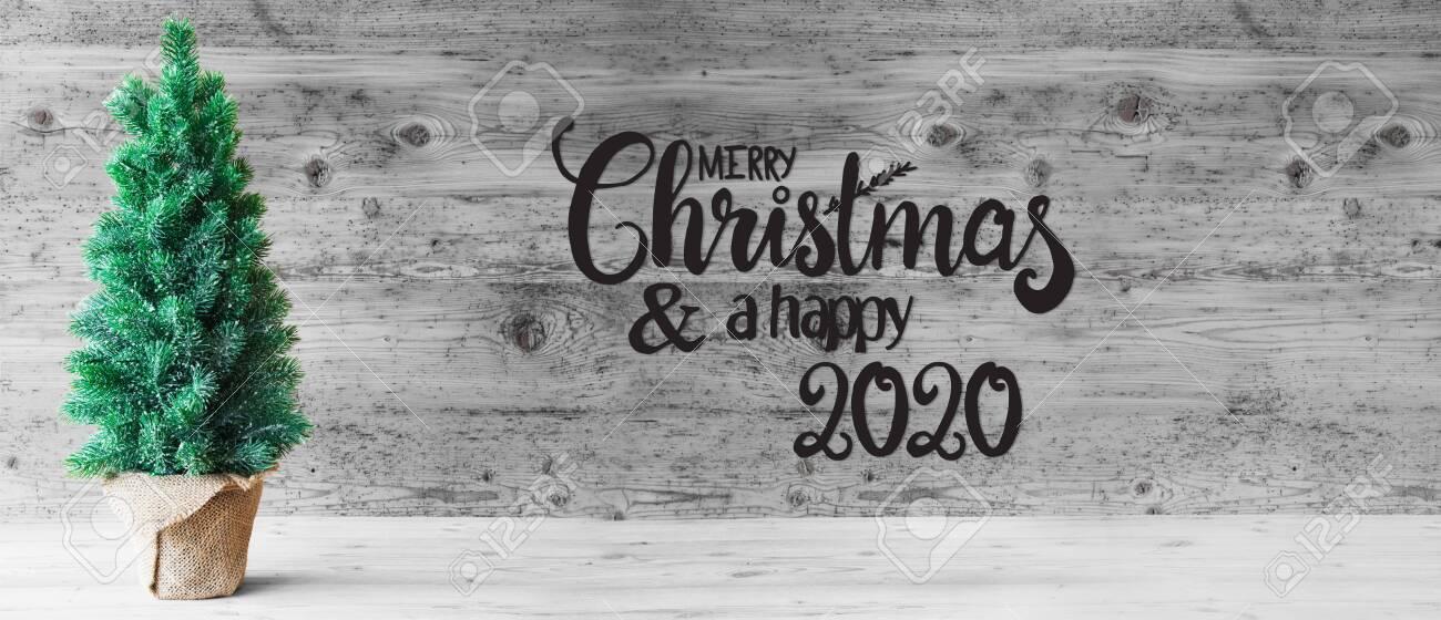Merry Christmas 2020 Black And White Christmas Tree, Merry Christmas And A Happy 2020, Black And White