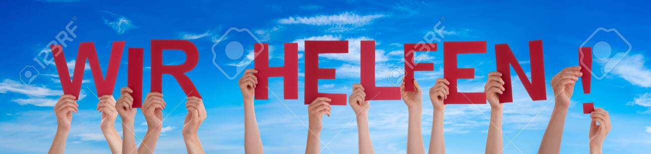 People Hands Holding Word Wir Helfen Means We Help, Blue Sky - 143022164