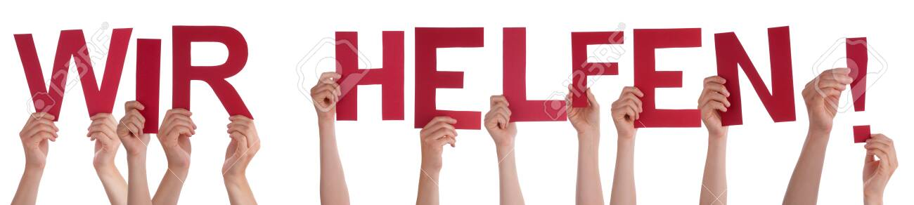 People Hands Holding Word Wir Helfen Means We Help, Isolated Background - 144037146