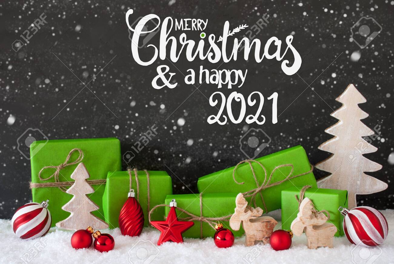 Merry Christmas 2021 Pictures Gray Snowflakes Tree Gift Ball Merry Christmas And A Happy 2021 Stock Photo Picture And Royalty Free Image Image 154210722