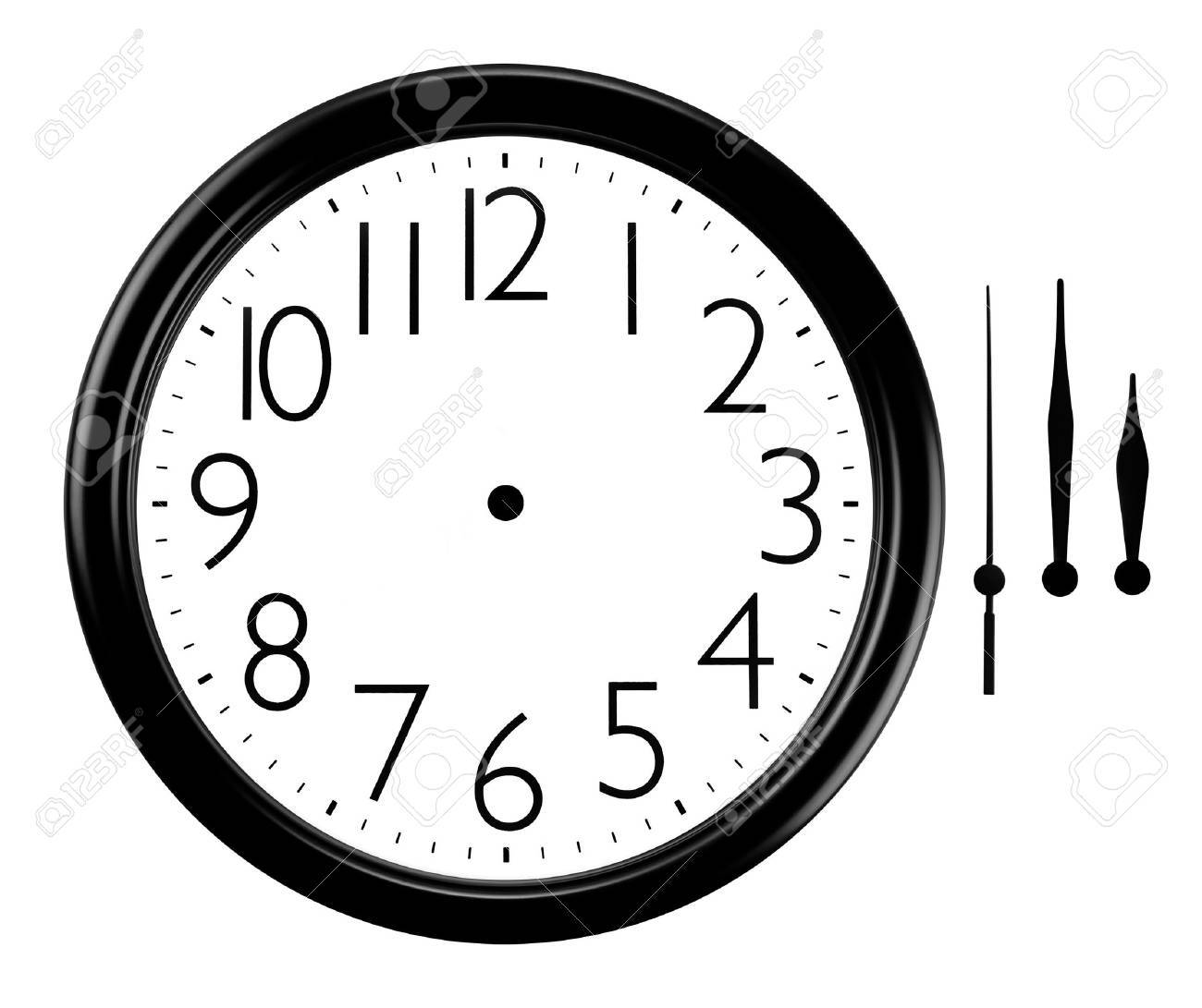 Black And White Wall Clock With Hands Separated Stock Photo Picture