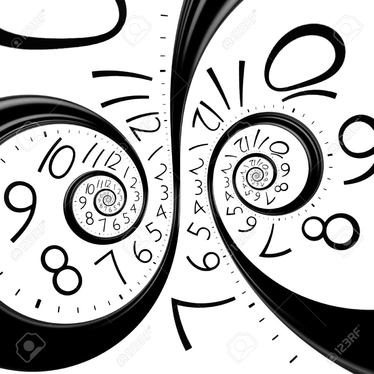 infinity time spiral clock, abstract background - 34788082