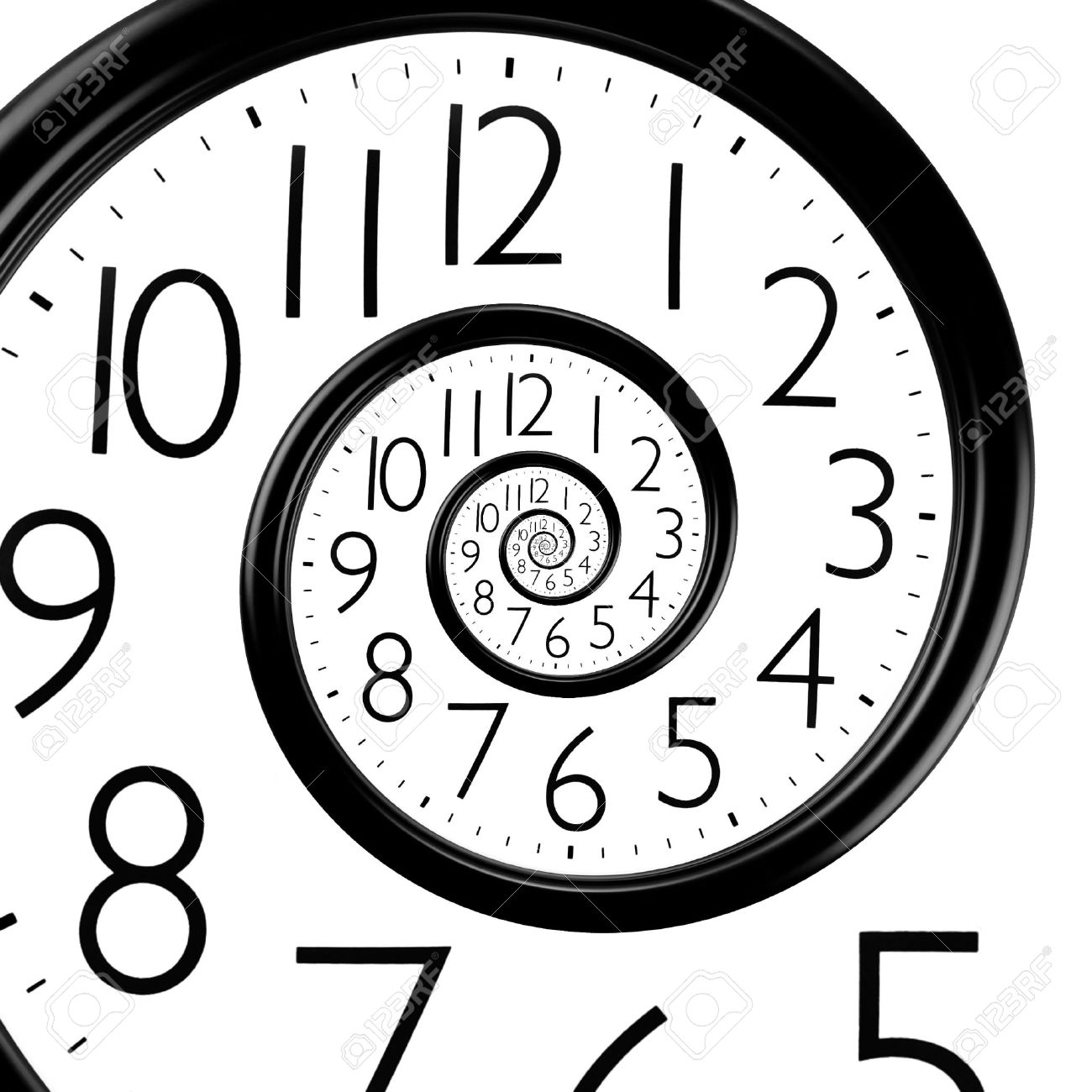 infinity time spiral clock, abstract background - 34785245