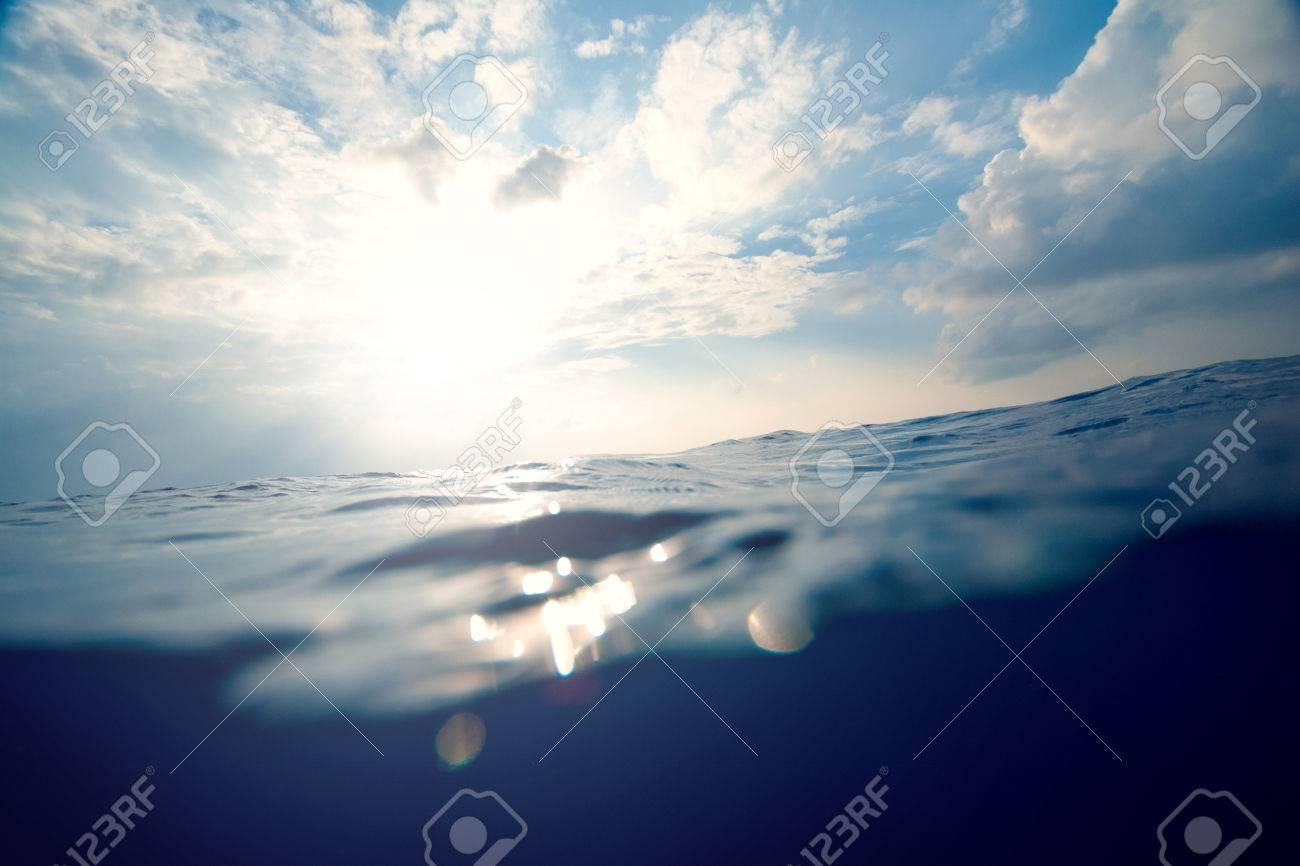 underwater, sea and sky split background - 34784482