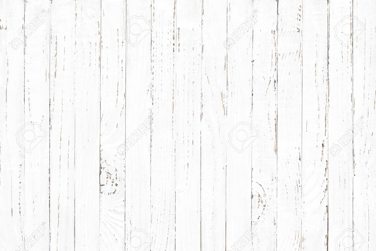 white wood texture background, natural wooden plank pattern - 129220801