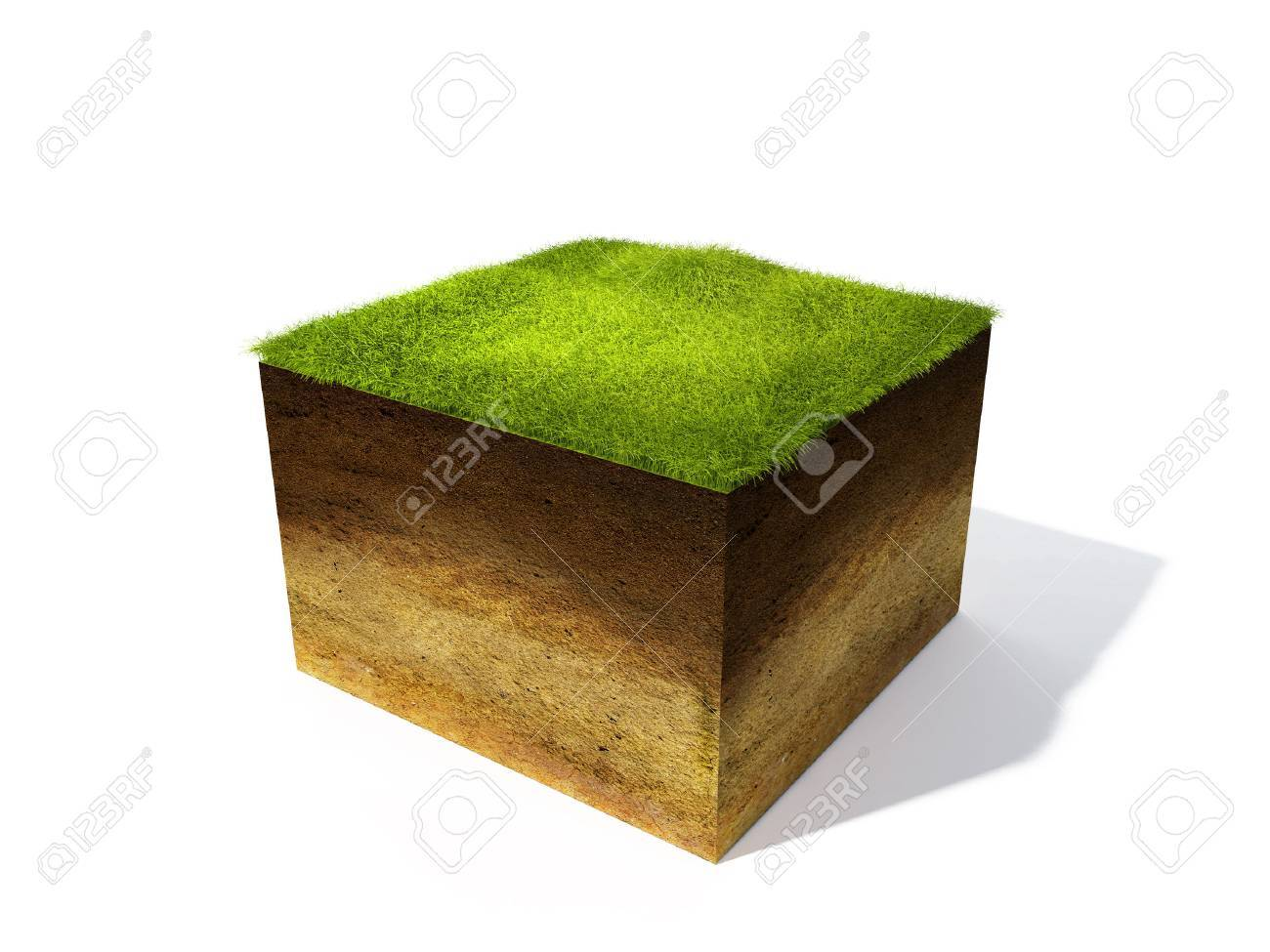 3d illustration of cross section of ground with grass isolated on white - 41306393