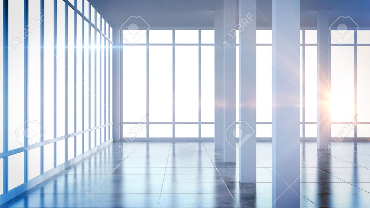 Render Modern Empty Interior Office Room With Large Windows Stock ...