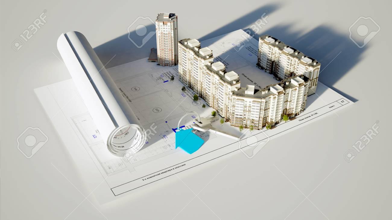 Konzeptionelle Bild Baute Das Haus Und Schlüssel Auf Weißem ...