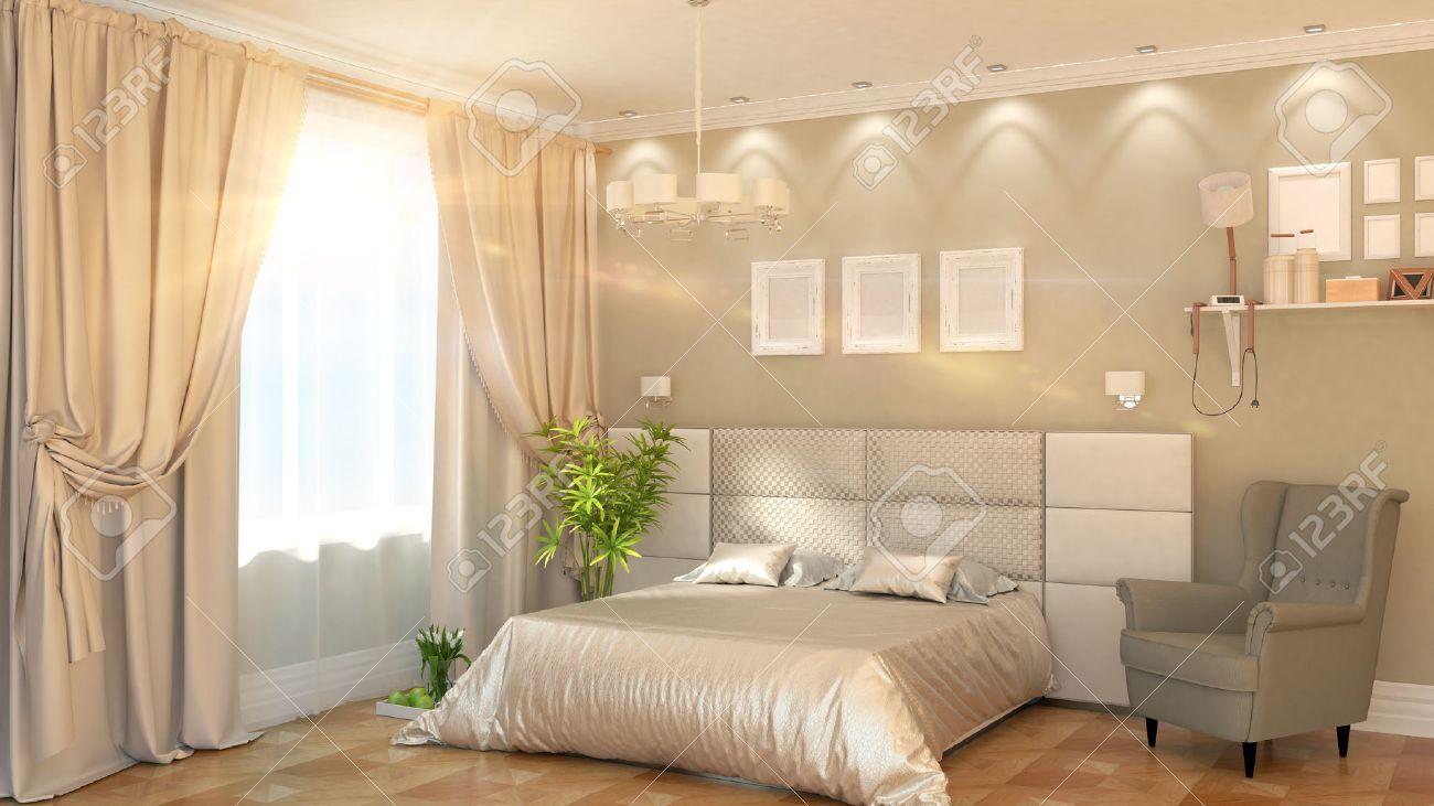 Moderne Schlafzimmer Interieur Mit Sessel 3d Rendering Lizenzfreie