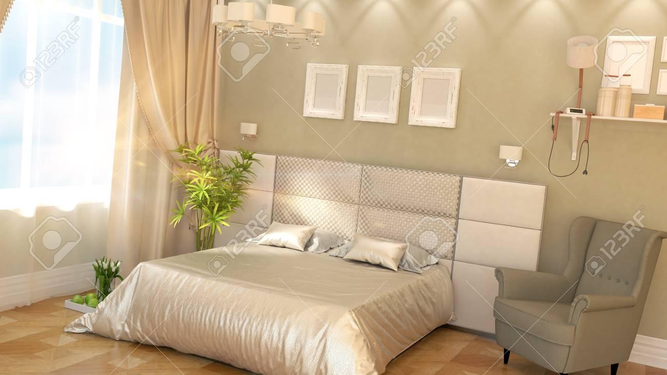Intérieur de la chambre à coucher moderne avec fauteuil et mur bleu ...