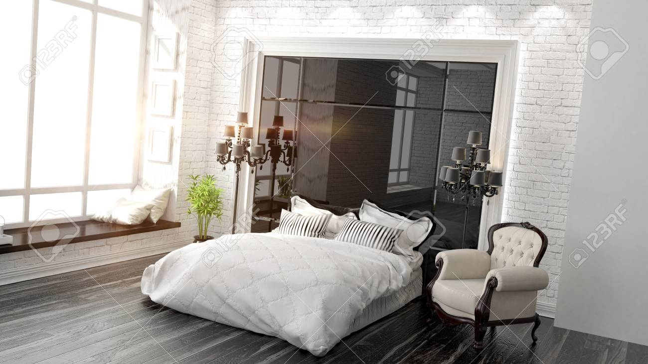 Bella camera da letto moderna, tra l\'arte Déco Stile di rendering 3D