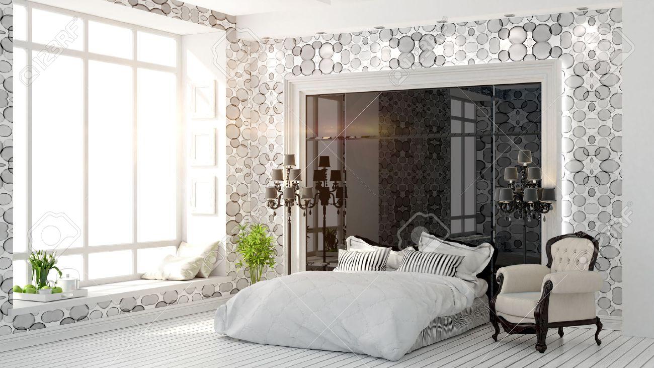 Bel Intérieur D\'une Chambre Moderne Dans L\'art Déco Rendu 3D De ...