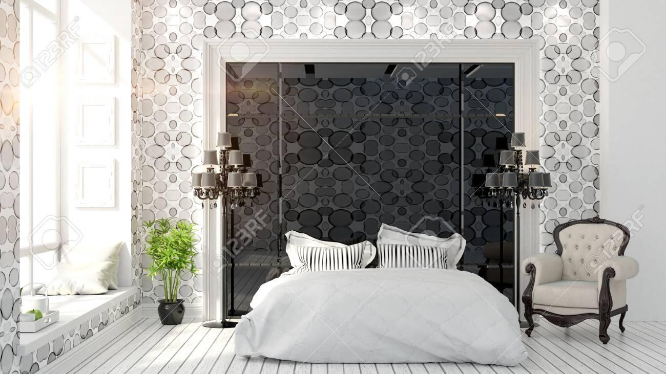 beautiful modern bedroom interior in art Deco style 18D rendering
