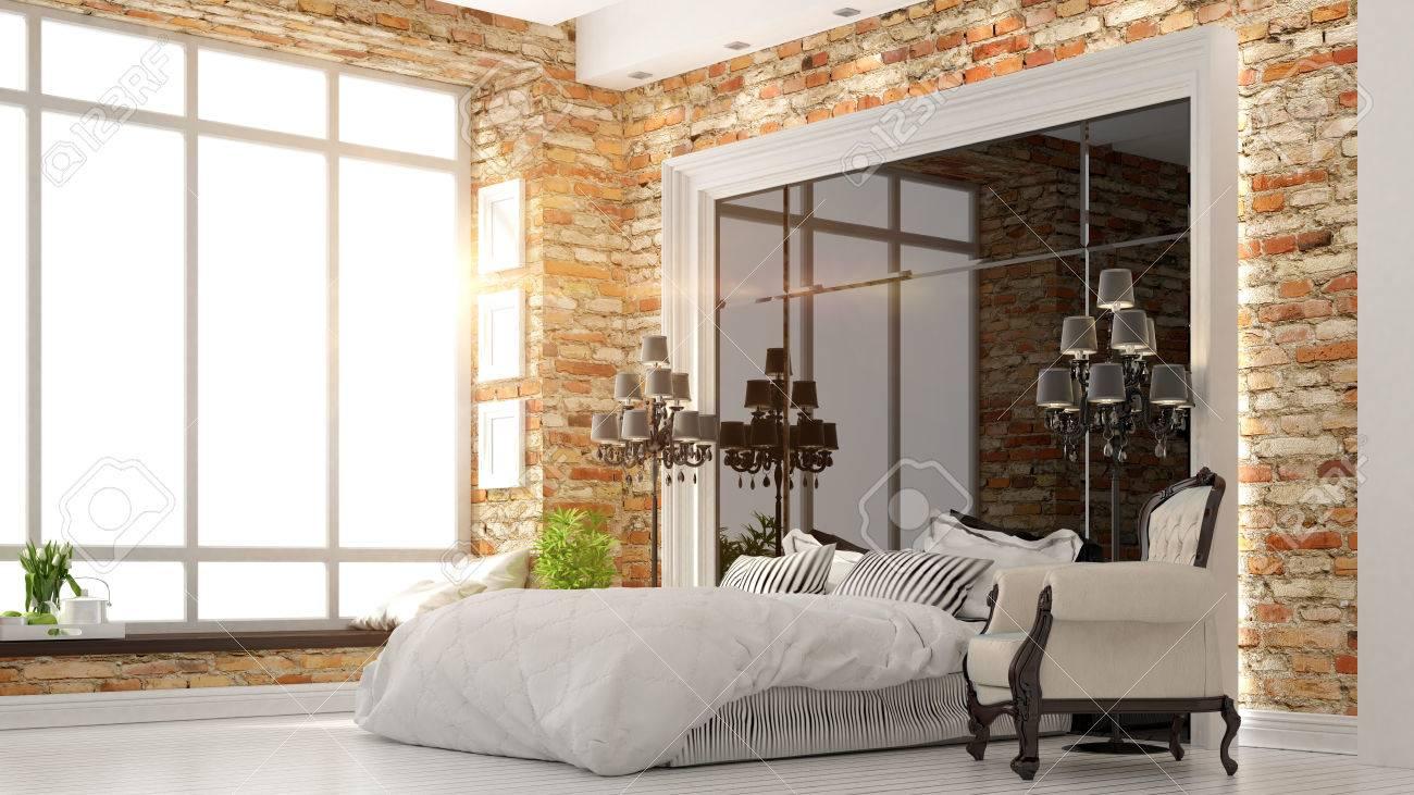 Beautiful Modern Bedroom Interior In Art Deco Style 3d Rendering