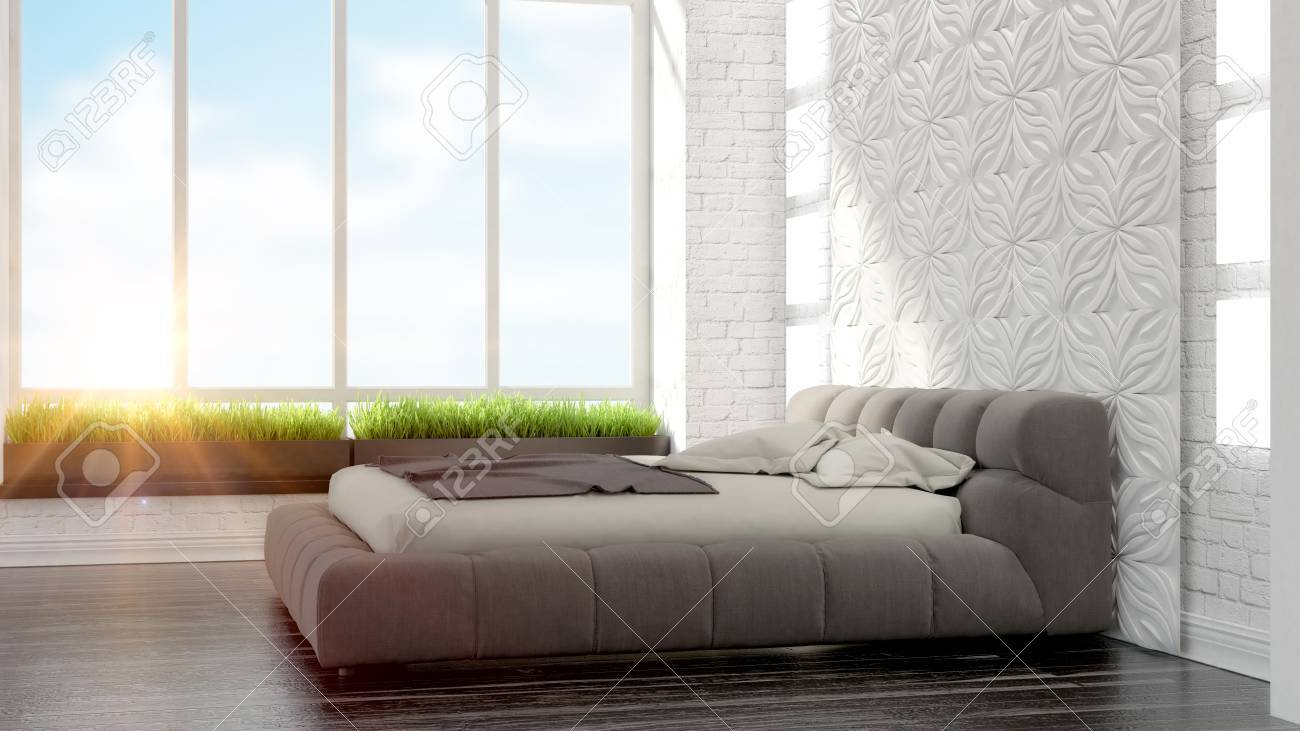 Schöne Moderne Schlafzimmer Interieur Im Art Deco-Stil 3D-Rendering ...