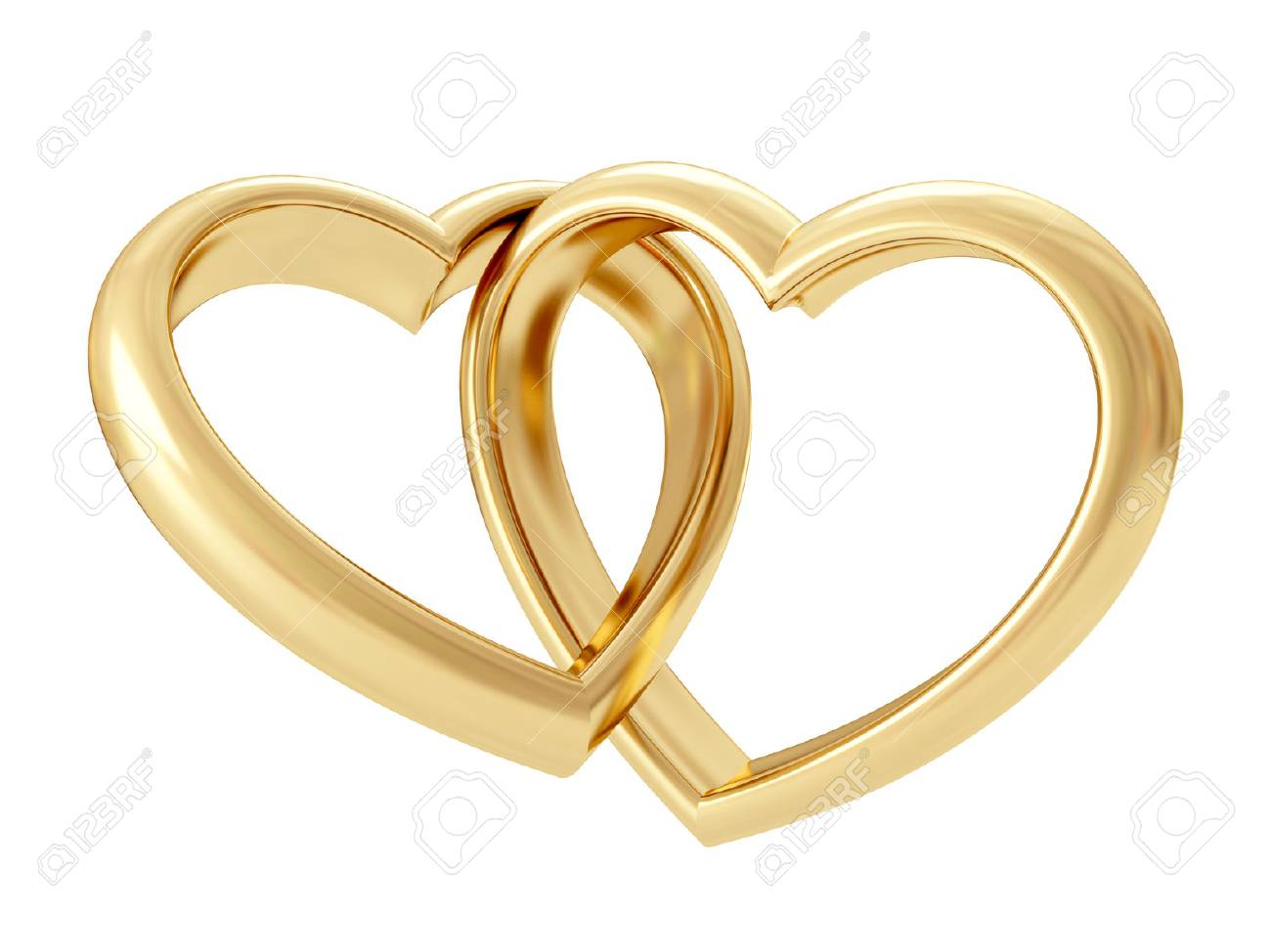 Gold heart shaped rings attached to each other. 3D rendering - 62894263
