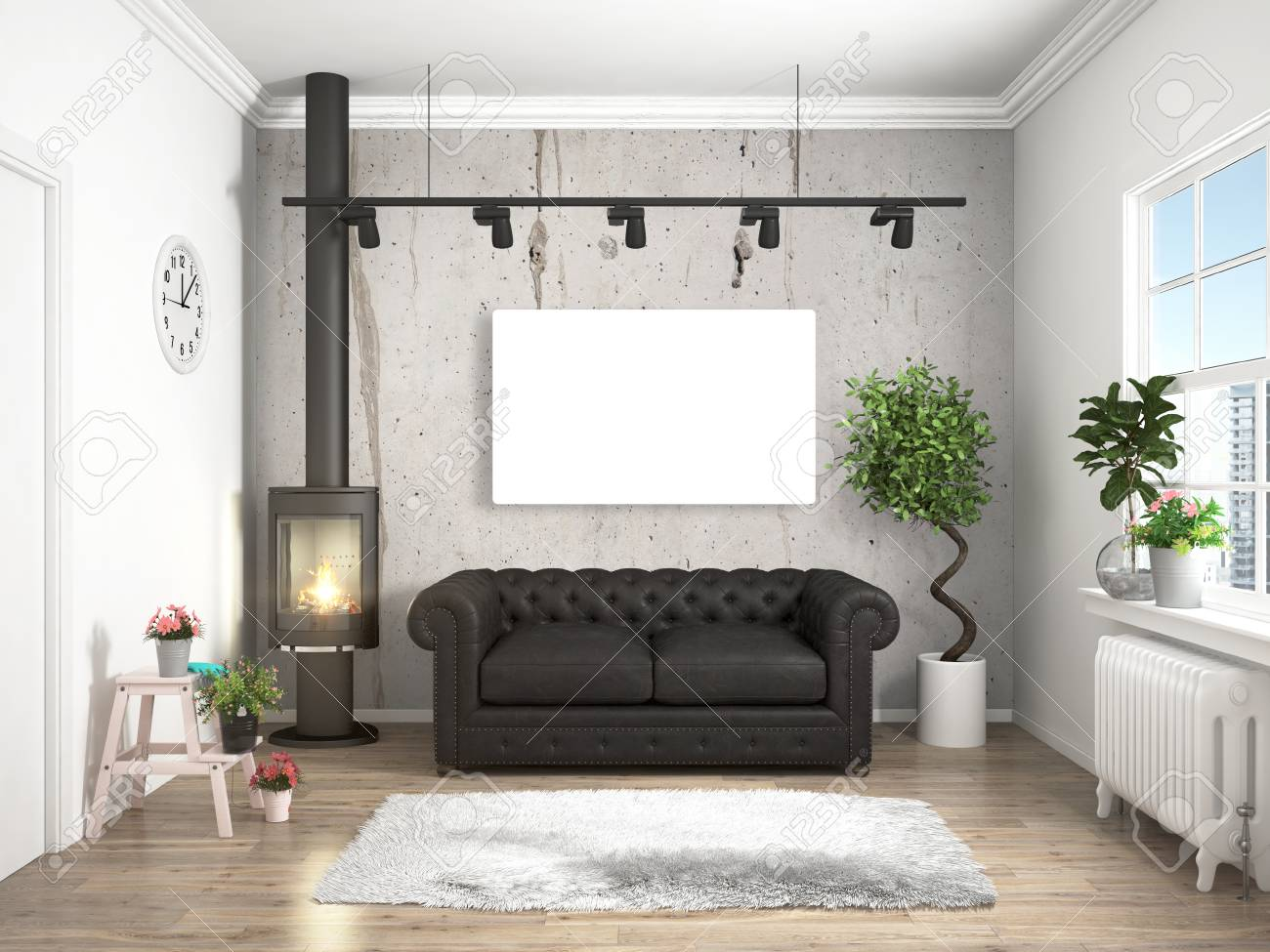 bright interior with sofa in a modern style 3d rendering stock