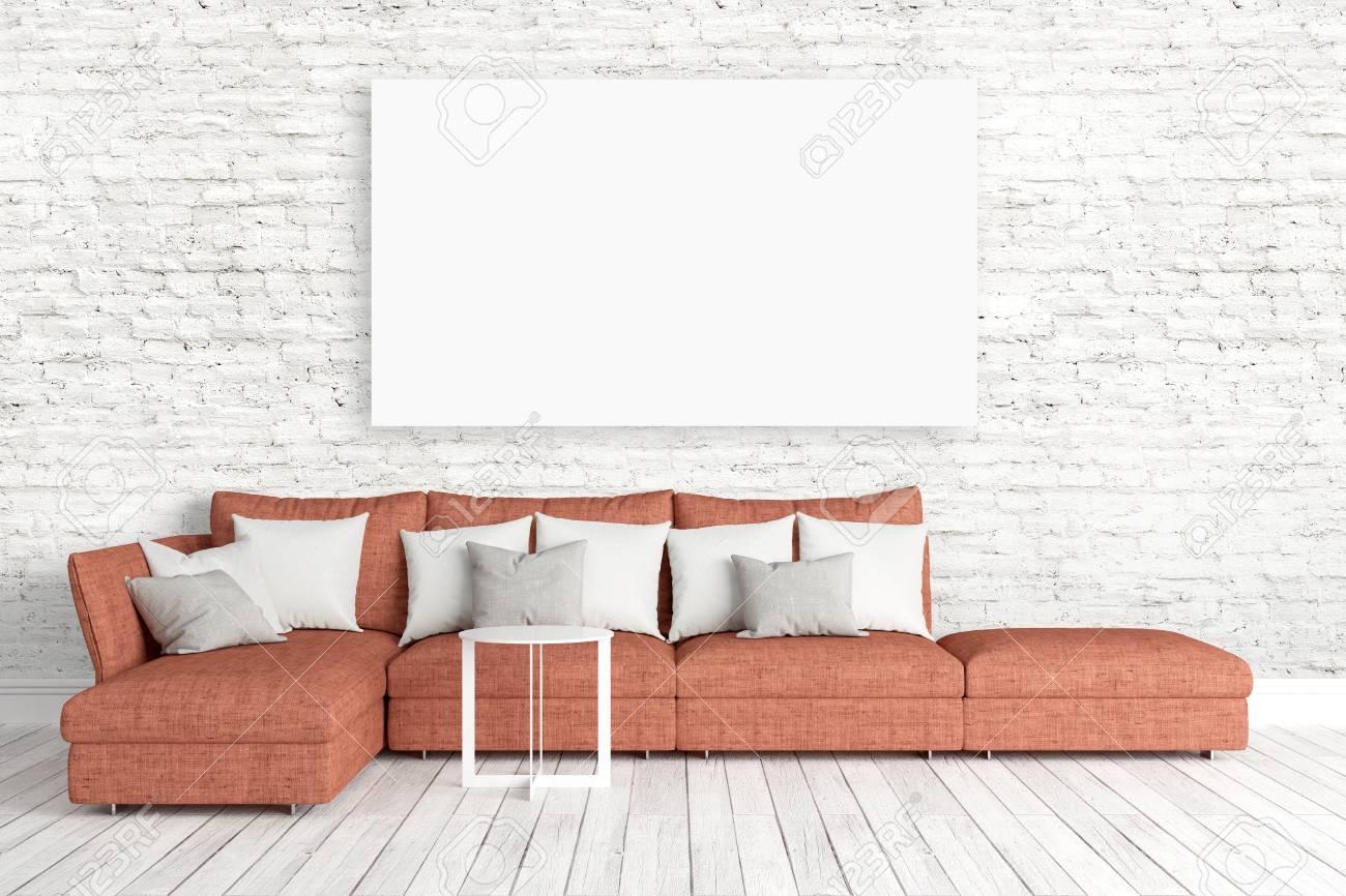 Schönes Modernes Interieur Mit Sofa . 3D-Rendering Lizenzfreie Fotos ...
