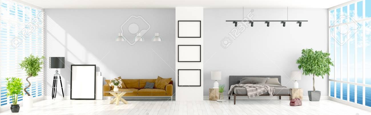 Schöne Moderne Interieur Mit Fenstern. 3D-Rendering Lizenzfreie ...