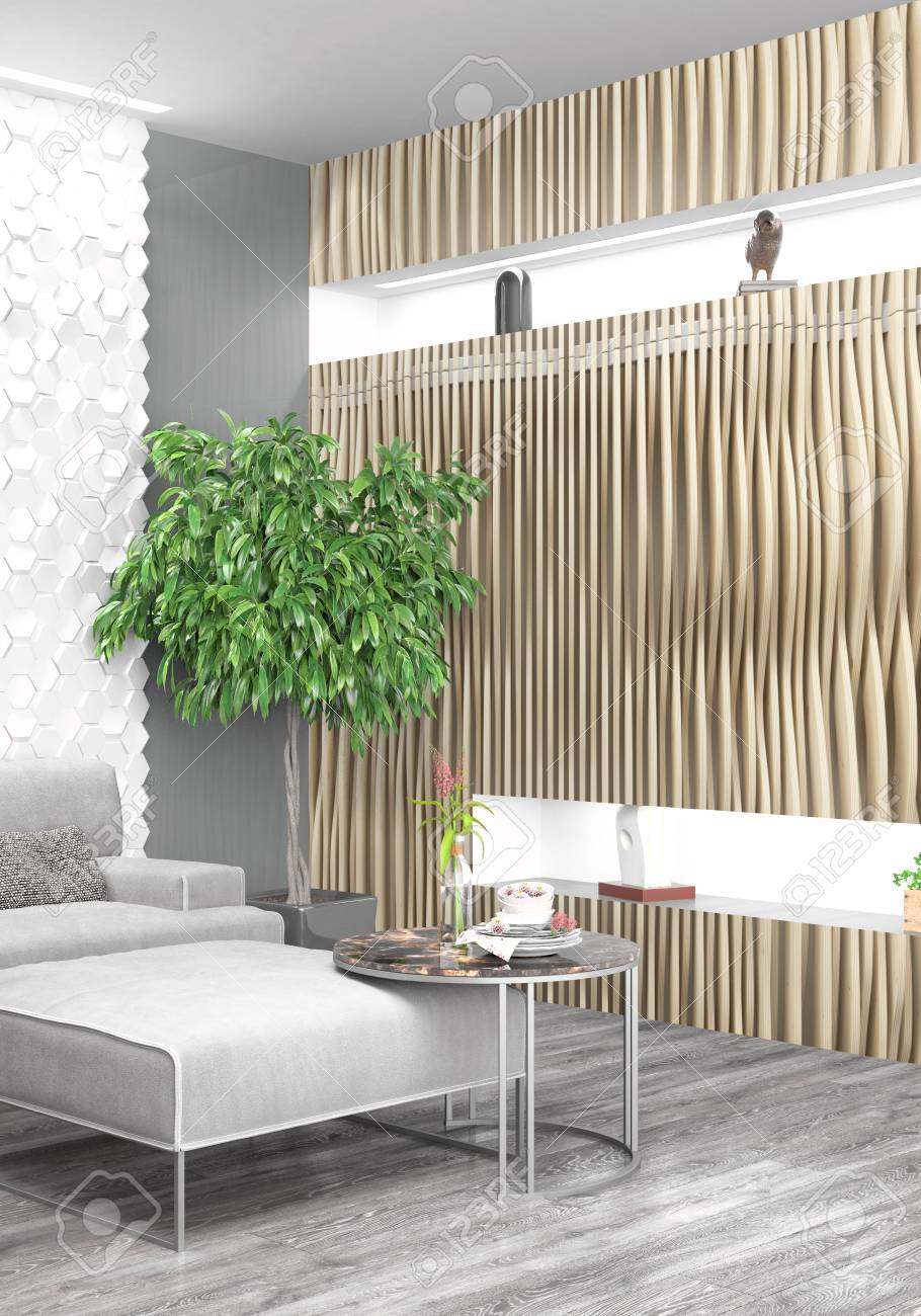 Schöne Moderne Interieur Mit Sofa. 3D-Rendering Lizenzfreie Fotos ...