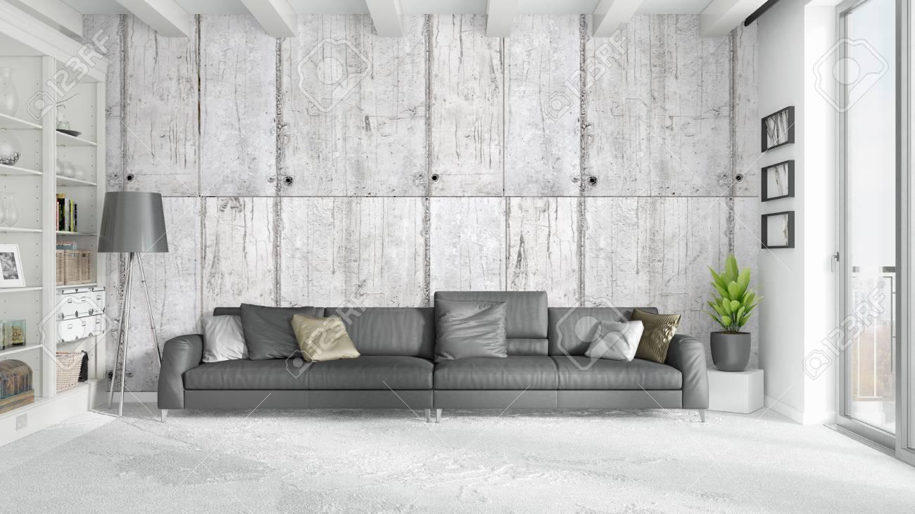 Schone Moderne Wohnzimmer Interieur Mit Sofa 3d Rendering
