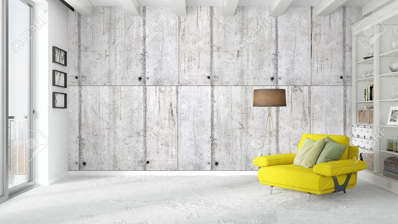 Schone Moderne Wohnzimmer Innenraum Mit Sessel 3d Rendering