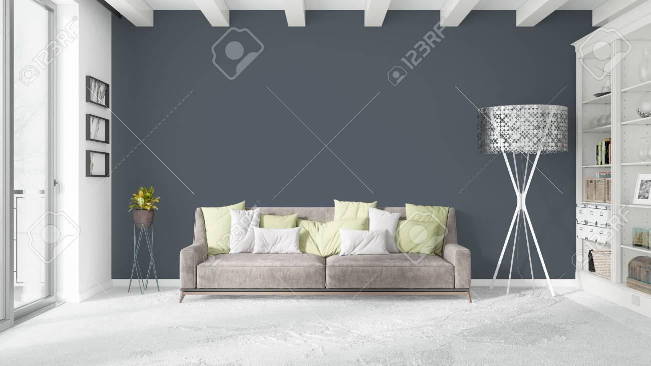 Schöne Moderne Wohnzimmer Interieur Mit Sofa. 3D-Rendering ...