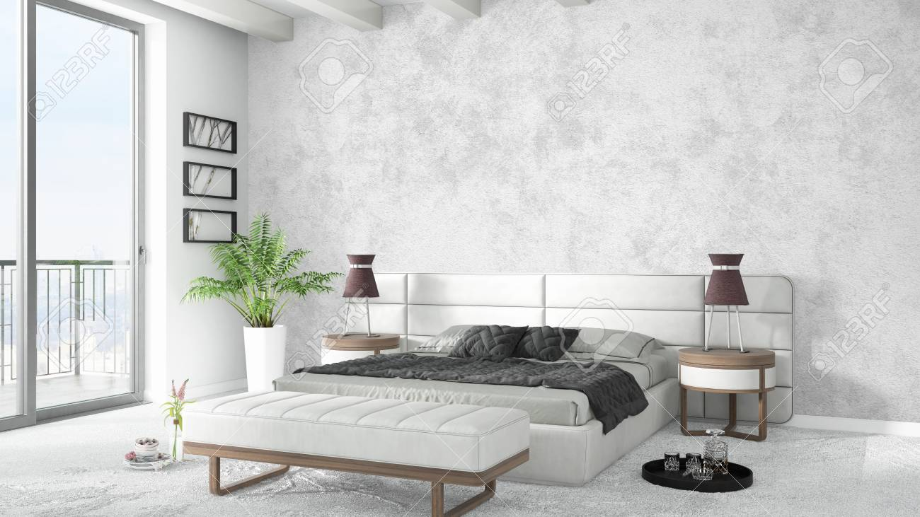 Beautiful Modern Bedroom Interior With Empty Wall 3d Rendering