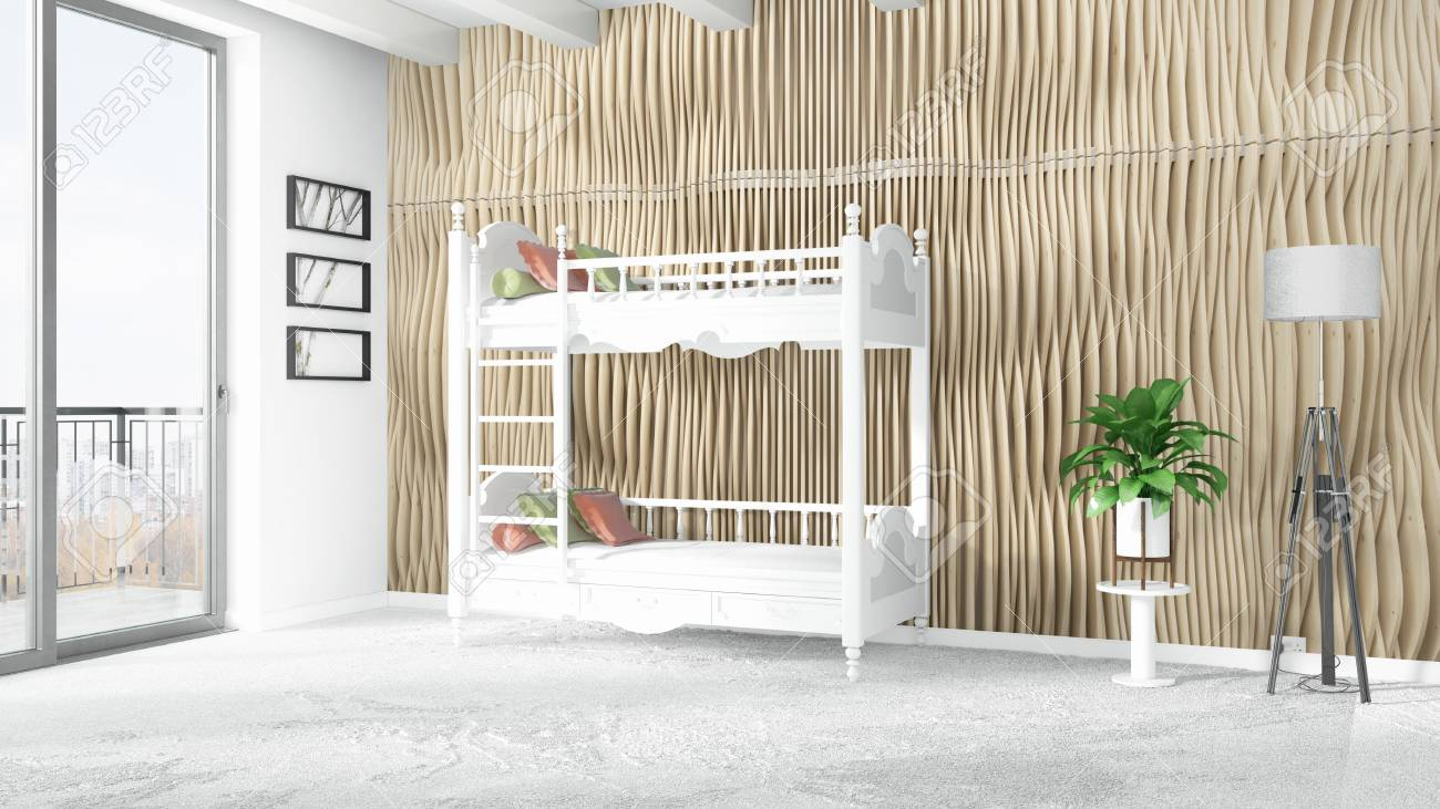 Beautiful Modern Childrens Room Interior With Empty Wall 3d